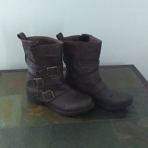 Charlotte Russe Brown Buckled Boots.